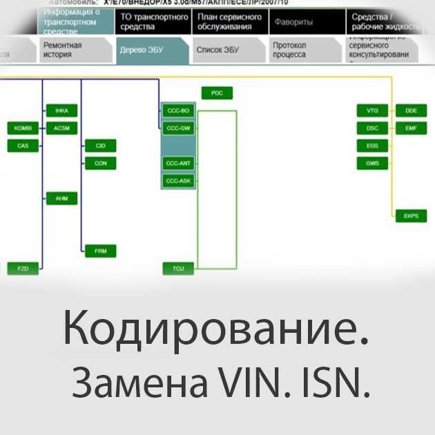 Кодирование БМВ, Замена VIN. ISN